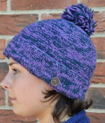 Two tone turn up bobble hat pansy/blue
