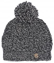 Pure wool chunky rib bobble hat two tone grey
