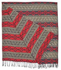 Diamond blanket/shawl Black/Red