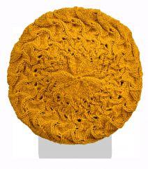 Half fleece lined pure wool scroll beret Mustard
