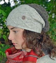 Half fleece lined hand knit fjord slouch pale grey/marl brown