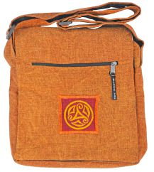 Stonewashed  motif multi zipped bag burnt orange