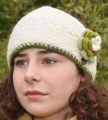 Fleece lined large flower headband Green/white