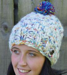 Pure Soft Wool half fleece lined bobble hat White/rainbow
