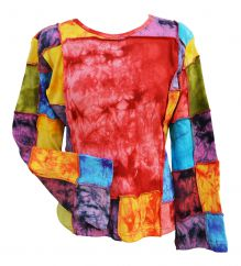 Large Squares tie dye Top rainbow patches