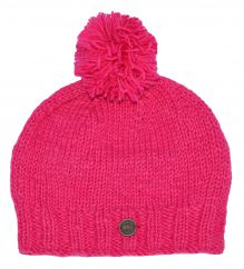 Hand knit pure wool classic bobble pink