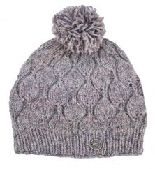 Hand knit pure wool heather leaf bobble hat Pale heather