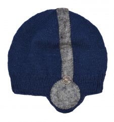 NAYA Hand knit half fleece lined stereo hat Blue/grey