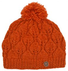 Hand knit pure wool leaf pattern bobble hat spice