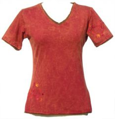***SALE*** Embroidered Double Edged T-Shirt Brick Red