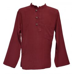 Button loop long sleeved flax shirt dark maroon