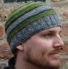 NAYA handknit ridge stripe beanie greens