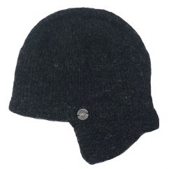 Half fleece lined hand knit helmet hat Charcoal