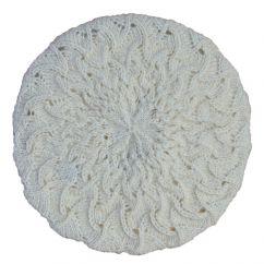 Half fleece lined pure wool scroll beret White