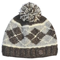 Half fleece lined pure wool Highland bobble hat Brown/mid grey