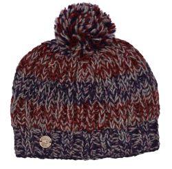 Pure wool chunky rib bobble hat heather stripe