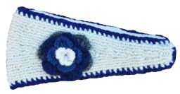 Fleece lined large flower headband White/dark blues