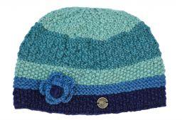 Hand knit half fleece lined crochet flower cloche hat Blues
