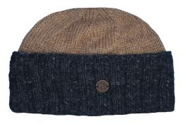 Hand knit pure wool watchman's beanie Camel/charcoal