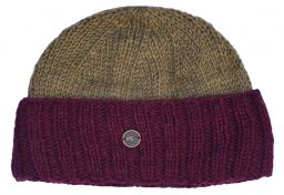 Hand knit pure wool watchman's beanie Khaki/maroon