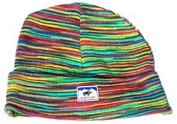 Soft cotton half fleece lined turn up beanie Rainbow