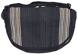 Satchel type heavy cotton striped bag black