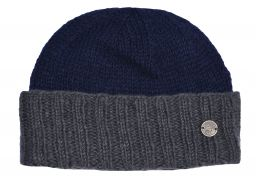 Hand knit pure wool watchman's beanie Blue/grey