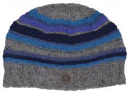 NAYA handknit ridge stripe beanie blues