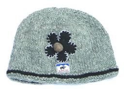 Half fleece lined pure wool felt flower beanie Grey/Black