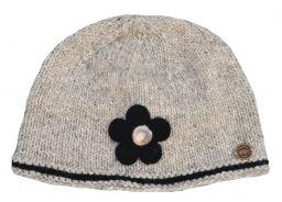 Half fleece lined pure wool felt flower beanie Grey/Black