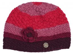 Hand knit half fleece lined crochet flower cloche hat Berry