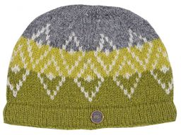 Pure wool hand knit double diamond beanie green/grey