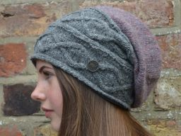 Half fleece lined hand knit fjord slouch Mid grey/heather