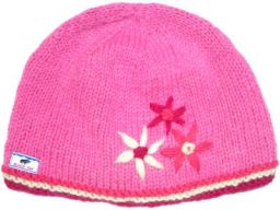 Half fleece lined pure wool embroidered flower beanie Pink