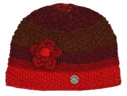 Hand knit half fleece lined crochet flower cloche hat Red/rust