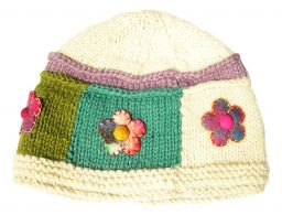 Pure wool half fleece lined large square flower beanie Pastel