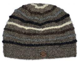 Hand knit natural ridge beanie brown