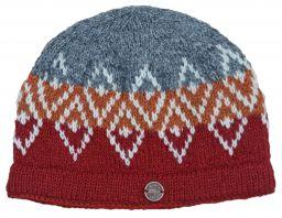 Pure wool hand knit double diamond beanie  paprika/grey