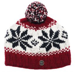 Half fleece lined pure wool snowflake bobble hat Deep Red/Grey