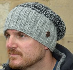 Hand knit moss two tone baggy beanie Pale grey