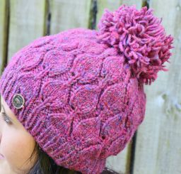 Hand knit pure wool heather leaf bobble hat Pink