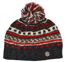 Half fleece lined pure wool pattern ridge bobble hat Greys/Red