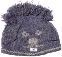 Hand knit pure wool dawg hat Grey