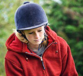 Fleece lined crochet edge detachable hood shaped jacket  Red