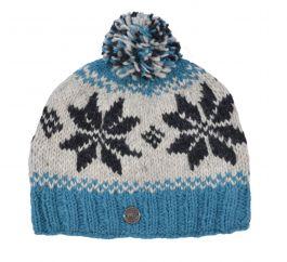 pure wool snowflake bobble hat Aqua/Grey
