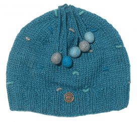 Half fleece lined pure wool french knot beanie Sea
