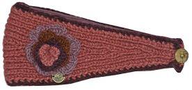 Fleece lined large flower headband Berry