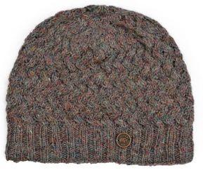 NAYA half fleece lined weave pattern beanie pale heather