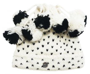 Half fleece lined pure wool seven bobble tick hat White