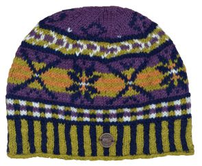 NAYA Pure wool hand knit cosmos beanie purple/mustard